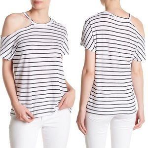 Stateside Black & White Stripe Top Women's Size L
